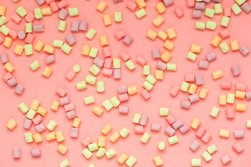 Marshmallow colorful, pink background