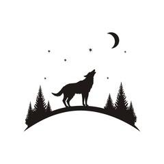 Силуэт волк воет на луну