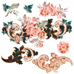 Set of vector baroque ornaments with flowers