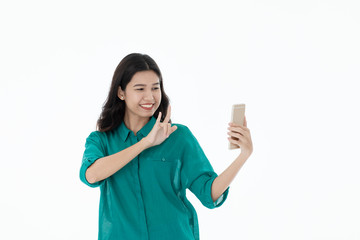 Asian woman selfie with smartphone.