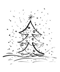 Black brush and ink artistic rough grunge hand drawing of Christmas tree standing outdoor in snowfall with decorations.