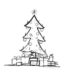 Black brush and ink artistic rough grunge hand drawing of decorated Christmas tree and wrapped gift boxes around.