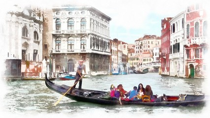 Gondola in a canal in Venice, Italy. Watercolor landscape of Venice, Italy.