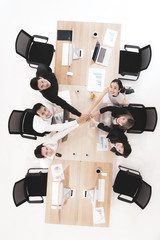 Businessmen in team give trust to others.