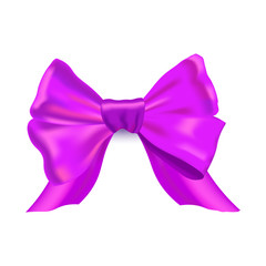Vector Illustration. Decorative gradient purple bow. Vector bow for page decor isolated