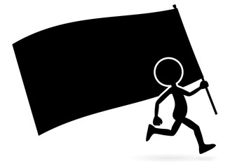 Black Vector 2D Cartoon Standard Bearer with Flag.