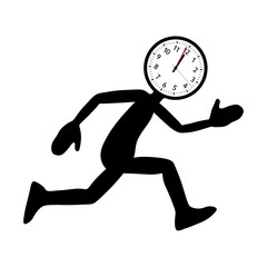 "Shape of Running Cartoon Character with ""Clock-Head"""