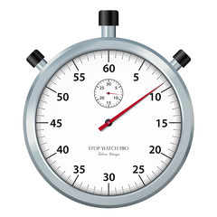 Classic stopwatch Icon / Symbol with Chrome Surface