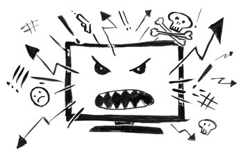 Black brush and ink artistic rough hand drawing of cartoon television or computer display as Internet showing hatred, violence, anger and bad news. Concept of media influence.