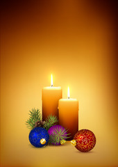 Two Orange Candlelights for Second Advent (2nd Week) on Golden Brown Background.