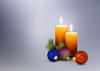 Second (2nd) Advent - 2 Realistic Vector Candles with Christmas Decoration.