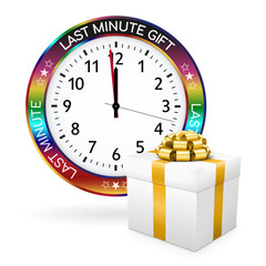 White Last Minute Present - Clock with Colorful Border