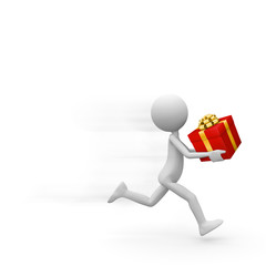 Fast Running Deliveryman with Red Gift Box in his Hand