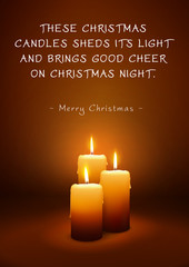 Christmas Greeting Card with Three Candles and Poem