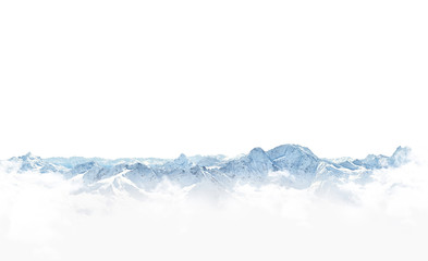 Panorama of winter mountains with snow. copy space background for your design