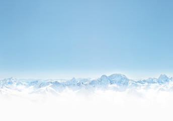 Wall Mural - Panorama of winter mountains with snow. copy space background for your design