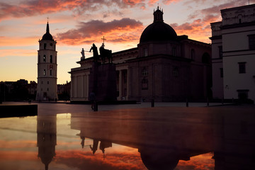 The Cathedral Square, main square of the Vilnius Old Town. Beautiful sunset in Vilnius, Lithuania