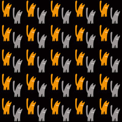Orange and gray cats, vector seamless pattern, a concept vector illustration on a black background