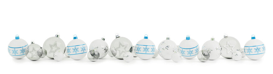 Blue and silver christmas baubles isolated 3D rendering