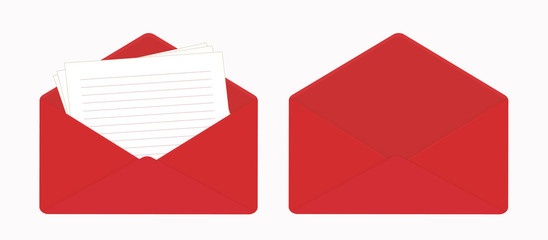 Letter in open red envelope, blank sheets of paper, empty envelope.