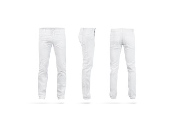 Blank white mens pants mock up set, isolated