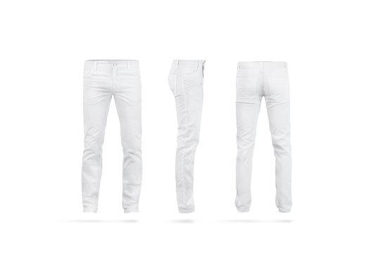 Blank white mens pants mock up set, isolated