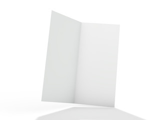 Blank portrait mock-up paper. Brochure, magazine, postcard isolated. 3D