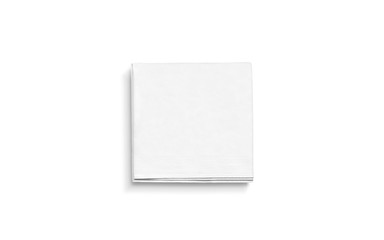 Blank white square folded napkin mock up, isolated
