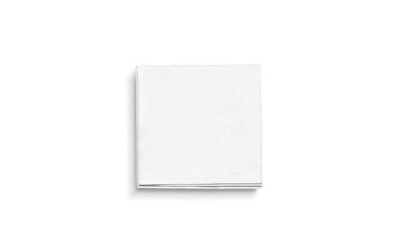 Blank white square folded napkin mock up, isolated