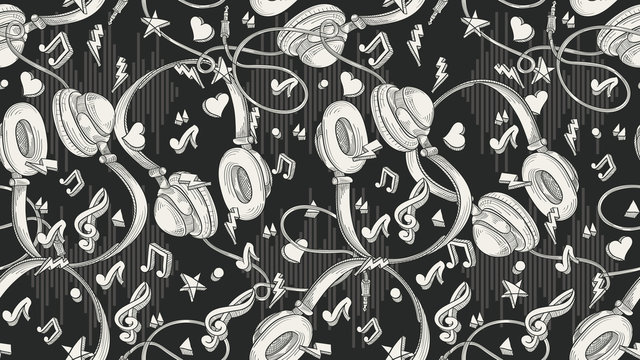 Hand drawn musical  headphones - seamless monochrome pattern