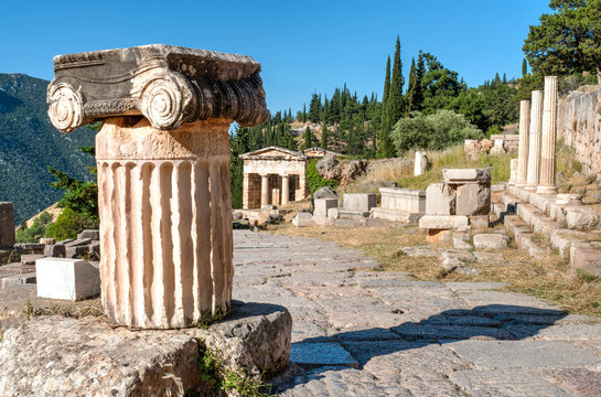 Ancient Greek columns viewed from top in delphi archaeological site Greece