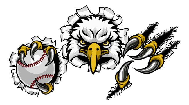 An eagle bird baseball sports mascot cartoon character ripping through the background holding a ball