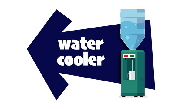 Water Cooler direction in office. Flat Vector illustration isolated on blue background