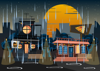 building in rainy day at night vector illustration