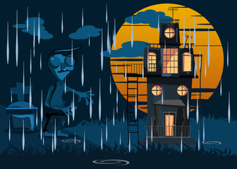 zombie and spooky house in rain vector illustration