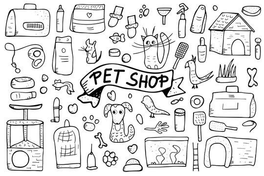 Pet shop concept. Vector doodle style design.