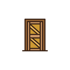 Wooden door filled outline icon, line vector sign, linear colorful pictogram isolated on white. Emergency exit door symbol, logo illustration. Pixel perfect vector graphics
