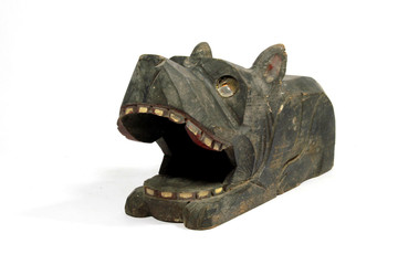 Tribal Carved Black Wooden Dog Statue