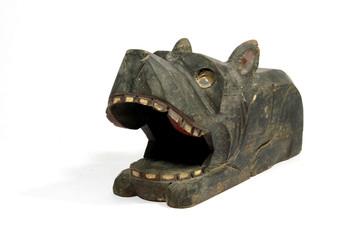 Tribal Carved Black Wooden Dog Statue