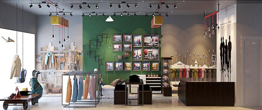 3d render fashion shop interior