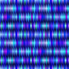 Seamless striped pattern from geometrical abstract shapes multicolored in blue shades on a dark background. Vector illustration. Suitable for fabric, wallpaper and wrapping paper