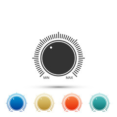 Dial knob level technology settings icon isolated on white background. Volume button, sound control, music knob with number scale, analog regulator. Colored icons. Flat design. Vector Illustration