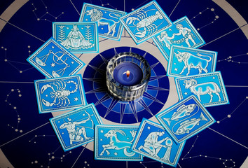 Wall Mural - Zodiac symbols with candle like astrology bacground