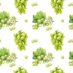 Grape hand draw seamless watercolor fabric pattern.