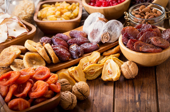 dried fruits on wooden table