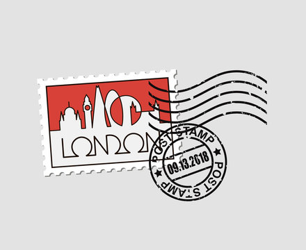 postage stamp with abstract linear illustration of London city