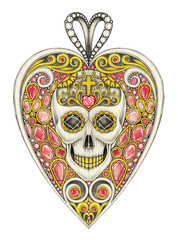 Jewelry Design Heart mix Skull Pendant. Hand drawing and painting on paper.