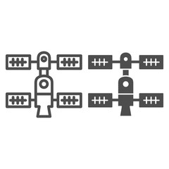 Space orbital station line and glyph icon. Spaceship vector illustration isolated on white. Space technology outline style design, designed for web and app. Eps 10.