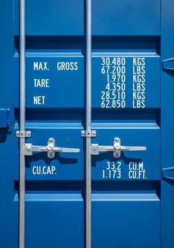 Blue industrial shipping container door