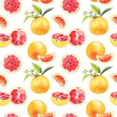 Grapefruit cut hand draw seamless watercolor pattern.